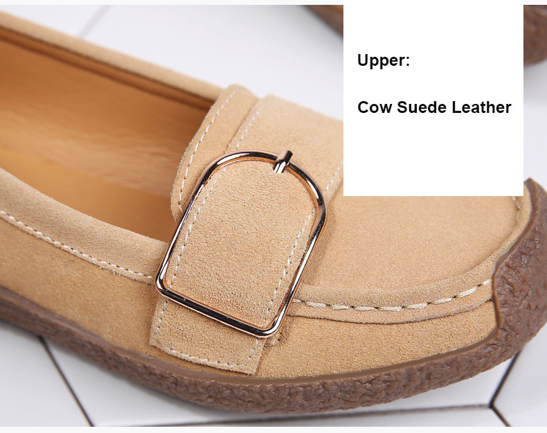 HX 7038-Spring Autumn Cow Suede Leather Women Flats-2