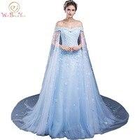 Платья партии Elegantes Гала вечерние платья с кружевной аппликацией 2018 синий с плеча с Обёрточная бумага Вечерние платья