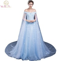 Vestidos De Fiesta Elegantes De Gala Evening Dresses With Lace Applique 2017 Blue Off The Shoulder