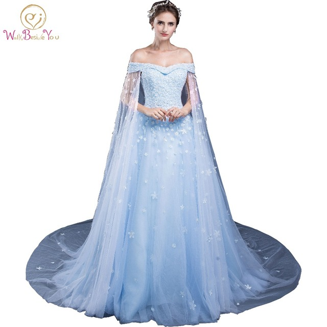 9cf1f582e vestido de festa elegantes de gala Evening Dresses with Lace Applique 2018  Blue Off the Shoulder with Wrap Formal Dresses