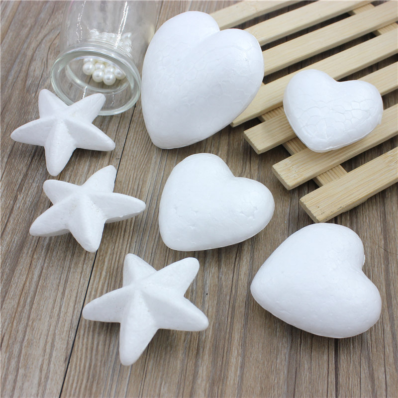 10pcs Polystyrene Styrofoam Foam Ball White Craft Stars For DIY Christmas Party Decoration Supplies Gifts