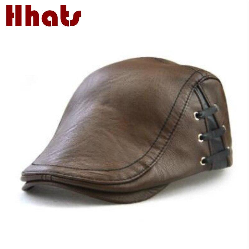 Qui dans la douche de haute qualité automne hiver en cuir visière solide vintage chapeau de béret réglable vintage cabbie chapeau rétro béret boina