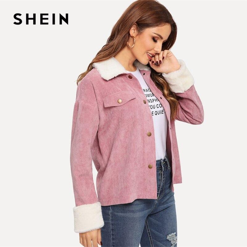 SHEIN Pink Contrast Faux Fur Detail Drop Shoulder Collar Jacket Women's Shein Collection