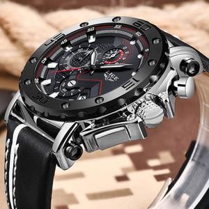 Image 2 - LIGE Creative Men Watch Top Brand Luxury Chronograph Quartz Watches Men Clock Male Leather Sport Army Military Wrist Watches+Box