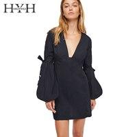 HYH HAOYIHUI 2017 Autumn V Neck Solid Black Women Elegant Flare Sleeve Lace Up Buttons Female