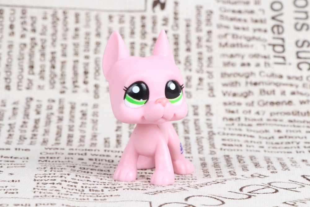 New pet Genuine Original LPS #2598 Pink Great Dane Dog green eyes Collection figure Toys new pet genuine original lps 64 rare pink white short hair cat kitty blue eyes collection figure toys