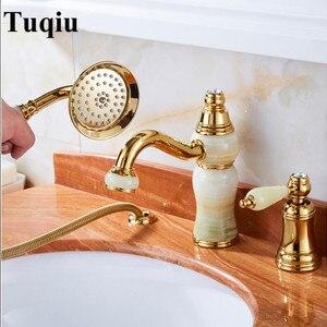 Bathtub Faucet Brass Gold Deck