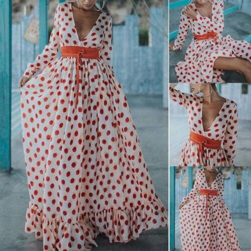 453e84d6999 Плюс Размеры S-3XL Boho женские макси платье с длинным рукавом глубокий  v-образным