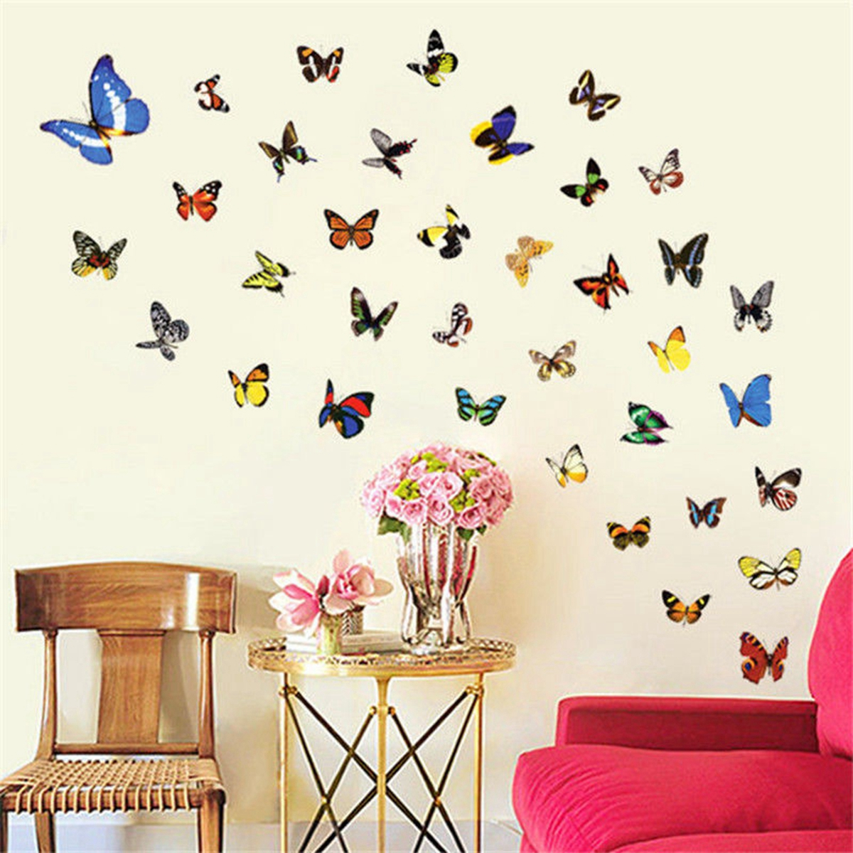 80pcs butterfly wall sticker decals vinyl art bedroom for Butterfly wall mural stickers
