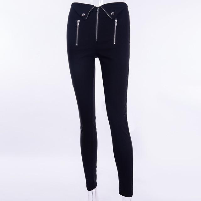 Gothic harajuku Grunge pants women zipper fold streetwear pencil casual Fashion pant black chic Summer long trousers Streetwear 4