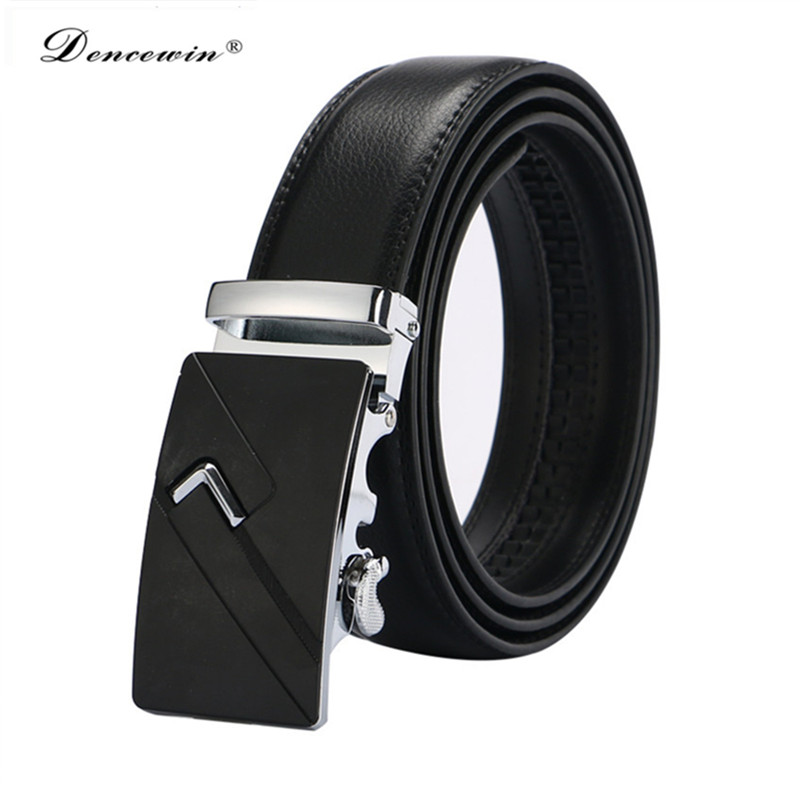 2019  New men's fashion 100% Genuine Leather belts for men High quality metal automatic buckle Strap male Jeans cowboy