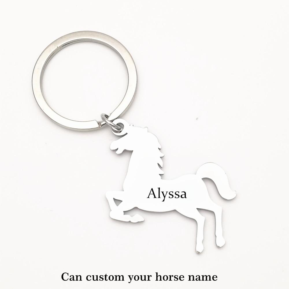 Custom Steed Horse Name Aanimal Pet Keychain Stainless Steel Keyring Keychain Pendant Key Bag Chain Creative Gift