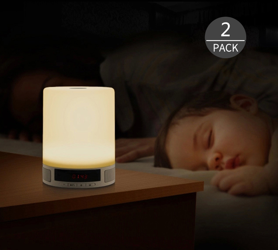 Touch Control LED Night Light  Bluetooth Speaker, Desktop USB/Card HD Sound Music Player,Bedside Warm Light Alarm Clock wake up night light alarm clock sunrise simulation dusk fading night light with nature sounds fm radio touch control usb charger