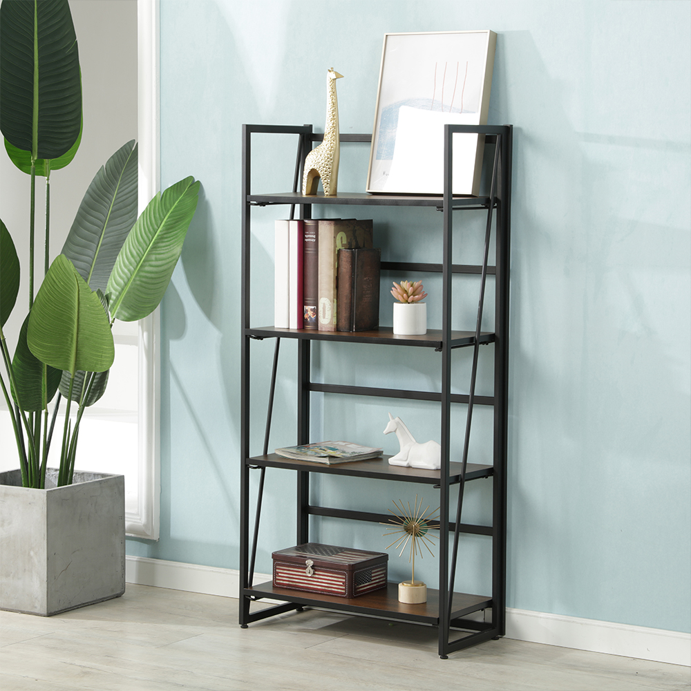 Bookcase:  4 Tiers Multipurpose Foldable Bookcase Storage Shelve Bookshelf Storage Shelve For Books Children Book Rack Bookcase For Home - Martin's & Co