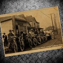 Foto antigua pintura Vintage papel Kraft póster USA motocicleta Retro Bar Café Pared de salón arte adhesivo para manualidades cuadro 42x30cm