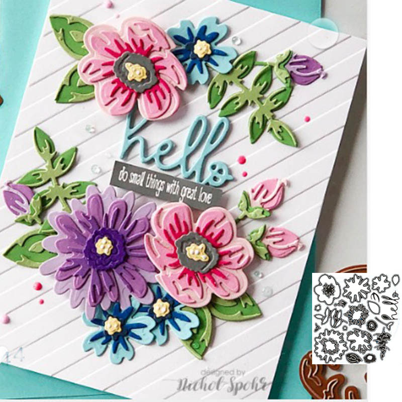 Flowers Cutting Die Crafts Carbon-Steel Layers Scrapbooking/photo-Album Cuts for DIY