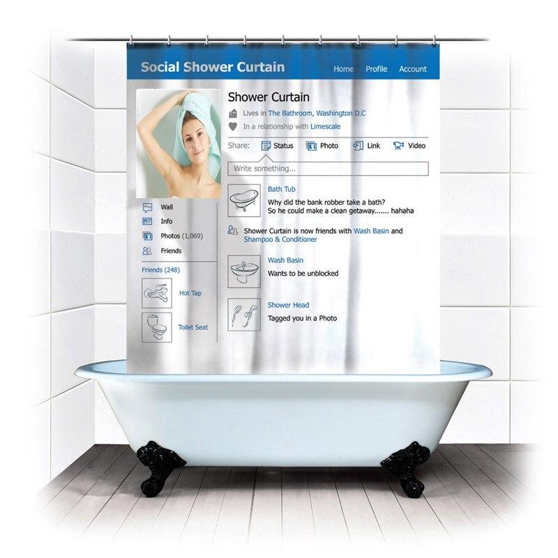 TH Facebook Waterproof Polyester Youtube Shower Curtain Social Fabric Bath Curtains Cortinas Para Banheiro 180180cm