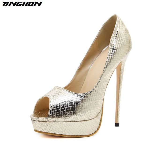 18848a3f4941 TINGHON New Spring Sexy 15CM High Heels Gold Silver Snakeskin Grain Pumps  Shoes Peep Toe Party Women Pumps