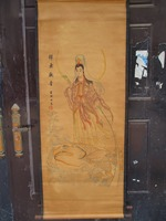 Collection Home wall decoration painting ,Chinese old paper scroll painting Guan yin with fish Figure Painting