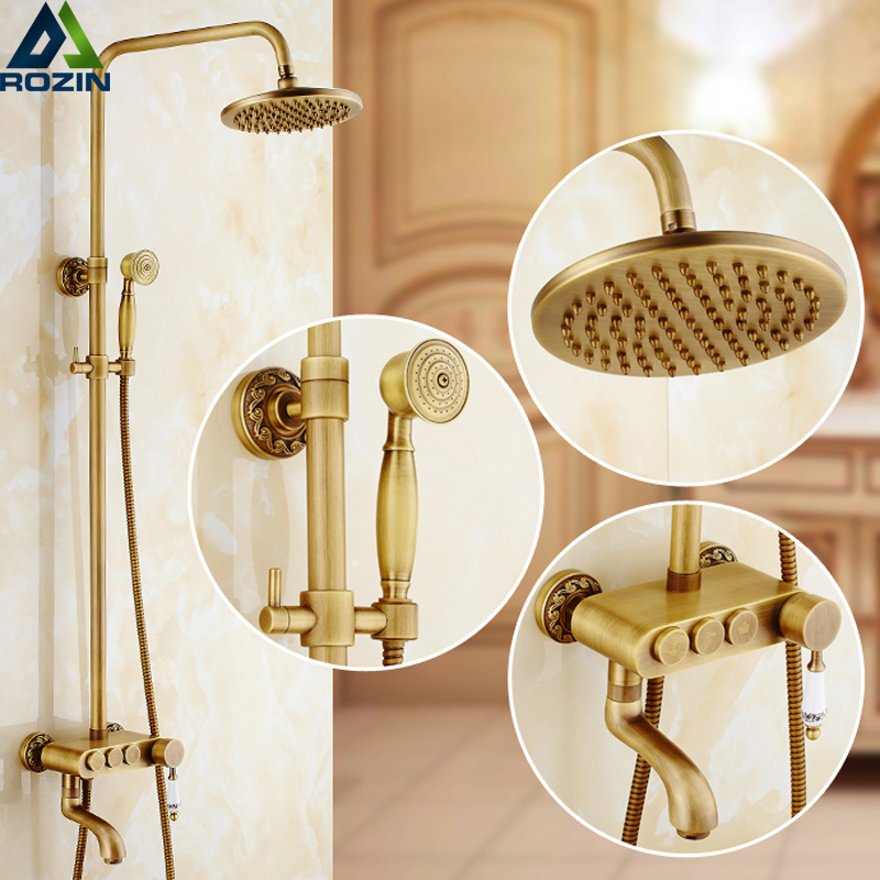 Retro Style Brass Shower Panel 8 Rainfall Shower Faucet Set Rotate Tub Spout Brass Hand Shower 3 Functions Knob Handle