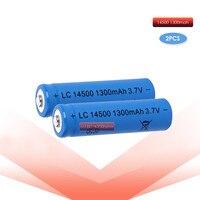 2 pzas/lote ANLB AA 14500 de 1300mah 3 7 V recargable de iones de litio baterías y linterna LED entrega|Baterías recargables| |  -