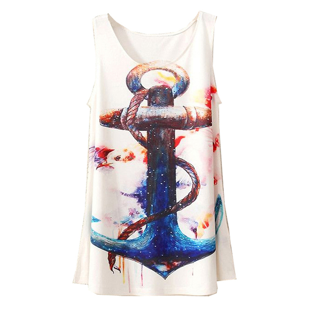 b62040e5 2015 New Style Fashion Vintage Spring Summer Women Sleeveless Graphic Print  Digital Printing T Shirt Tee Blouse Vest Tank Tops