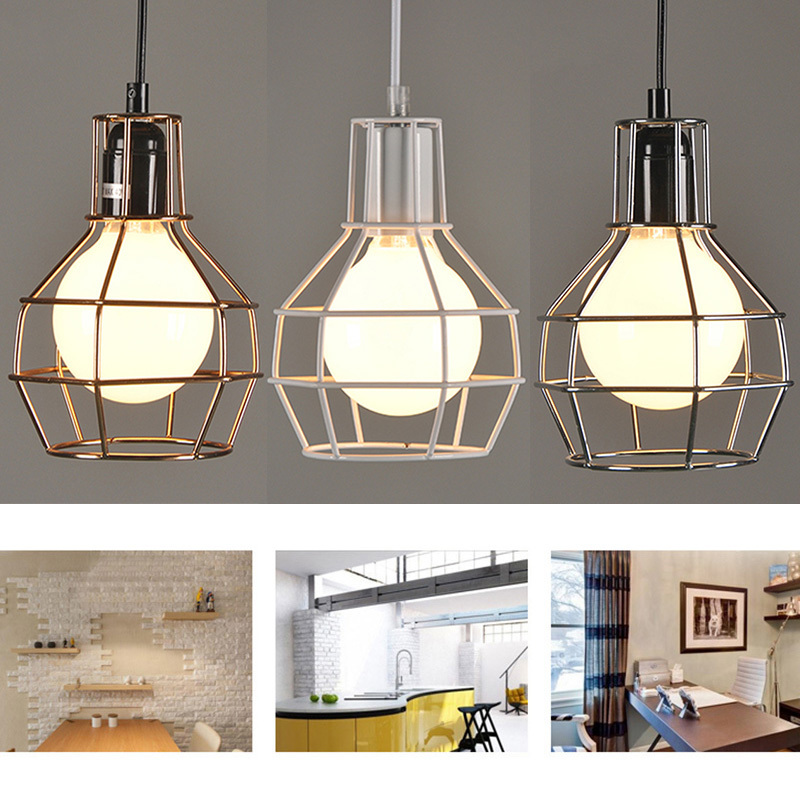Iron Art Ceiling Lamp Vintage Industrial Style Bird Cage Wall Sconce Light For Garage Living Room Dining Hall Coffee House