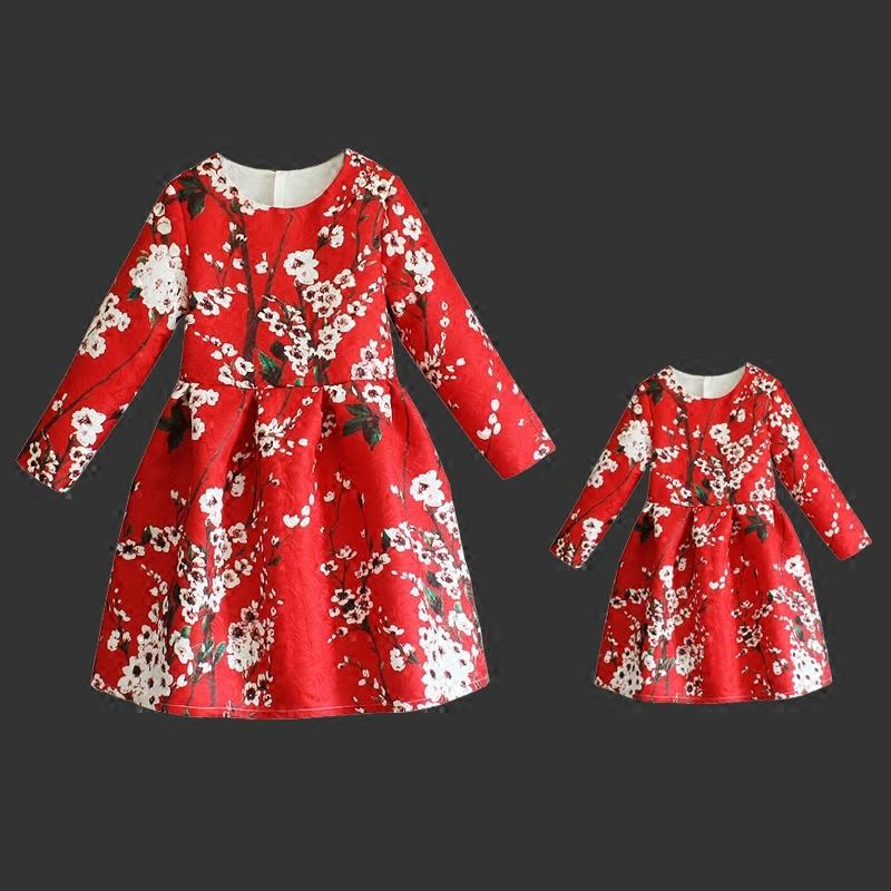 Family look girls and mother clothes Spring floral prints dresss mom girls long pleated party skirts mother and daughter dresses