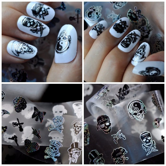 Blueness 1 Roll 4100cm Charms 10 Different Skull Design Nails Art