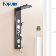 Fapully Massage Shower Panel Wall Mounted Brushed Nickle Rain Mixer Shower Panel Shower Column Faucet Massage Jets  цена 2017