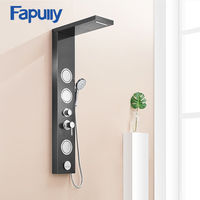 Fapully Bathroom Shower Panel Wall Mounted Brushed Nickle Rain Mixer Shower Panel Shower Column Faucet Massage Jets LY112 02B