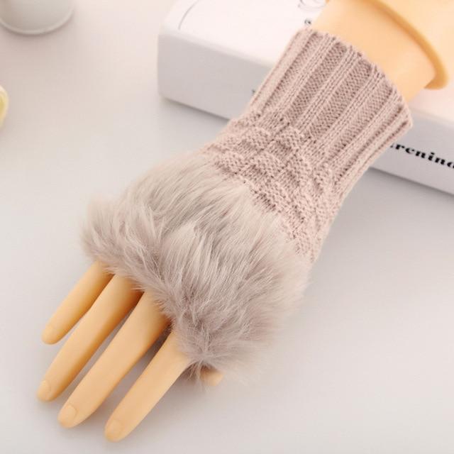 LEDINGSEN 2018 autumn winter warm faux fur gloves red knitted fashion woman black fingerless mittens white for women