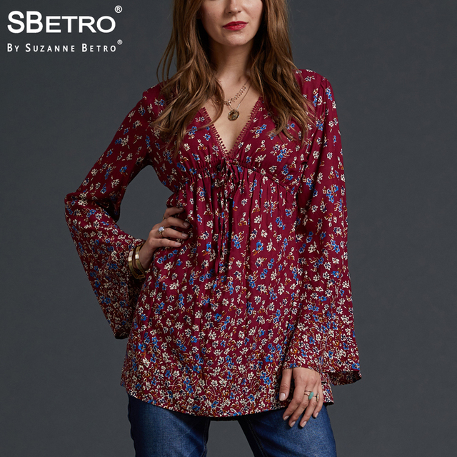 c3379182759 SBetro by Suzanne Betro V-Neck Lace Blouse Floral Print Ladies Tops Empire  Sexy Long Bell Sleeve Casual Tunic Top Blouses Women