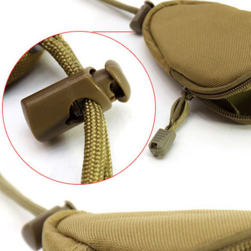 Outdoor Portable Carrying Hanging Bag Purse Travel Camping Change Key Organize Pouch with Inner Stainless Key Ring