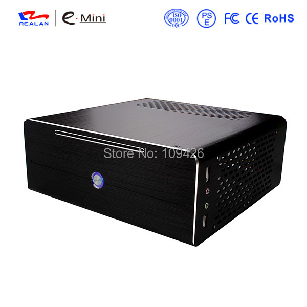 Realan industrial high quality oem mini htpc desktop case  E-i7 with power supply CD-ROM expansion slots aluminum black silver new fan e i5 aluminum htpc computer case e350 h61 hd perfect match i3 i7 e i5