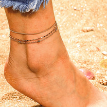 Charm Multi Layer Ball Metal Chain Anklets Bracelets For Female Vintage Gold Color Girl Wedding Party Jewelry