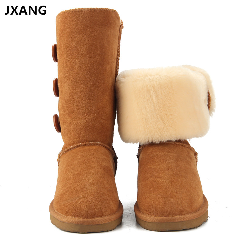 JXANG High Quality Fashion Women UG Snow Boots Genuine Leather Woman Boots Fur Long Warm Wool Shoes Women High Winter Boots de la chance winter women boots high quality female genuine leather boots work