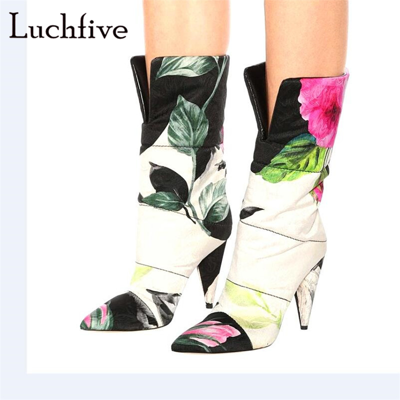 New spike high heels winter boots women sexy pointy toe print flower short boots black white slip on fashion shoes women