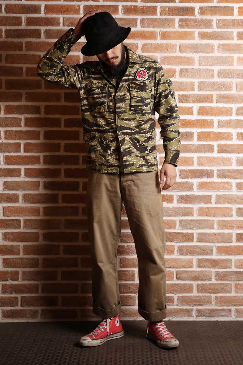 NON STOCK Golden Tiger Camo Shirt Vintage Military Combat Fatigue Uniform Jacket