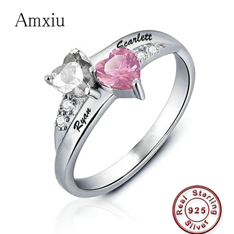 Amxiu Custom 100% 925 Sterling Silver Wedding Ring Engrave Two Names AAA Zircon Birthstones Heart Rings For Bridal Women Bijoux