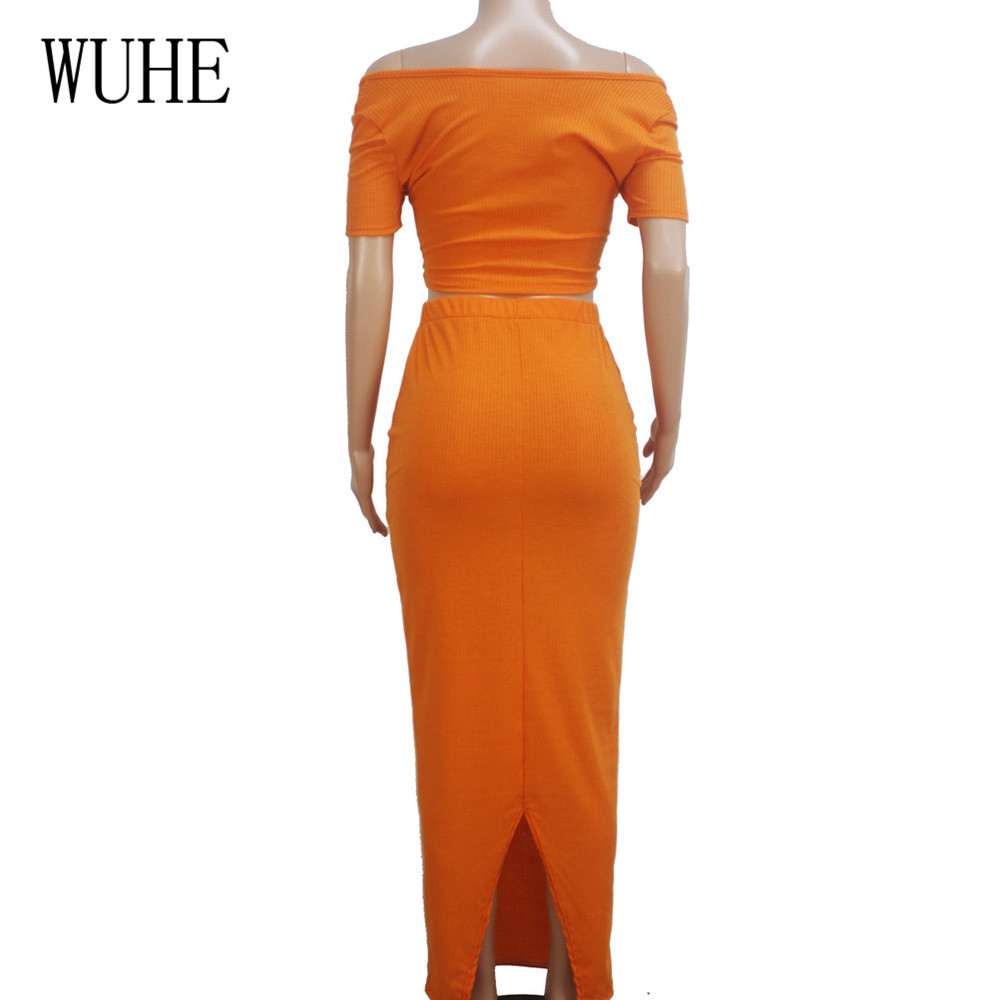 WUHE New Brand Women Fashion Sexy Summer Party Dress Two Pieces Sets Hollow Out Off Shoulder Bodycon Pencil Slim Dress Vestidos in Dresses from Women 39 s Clothing