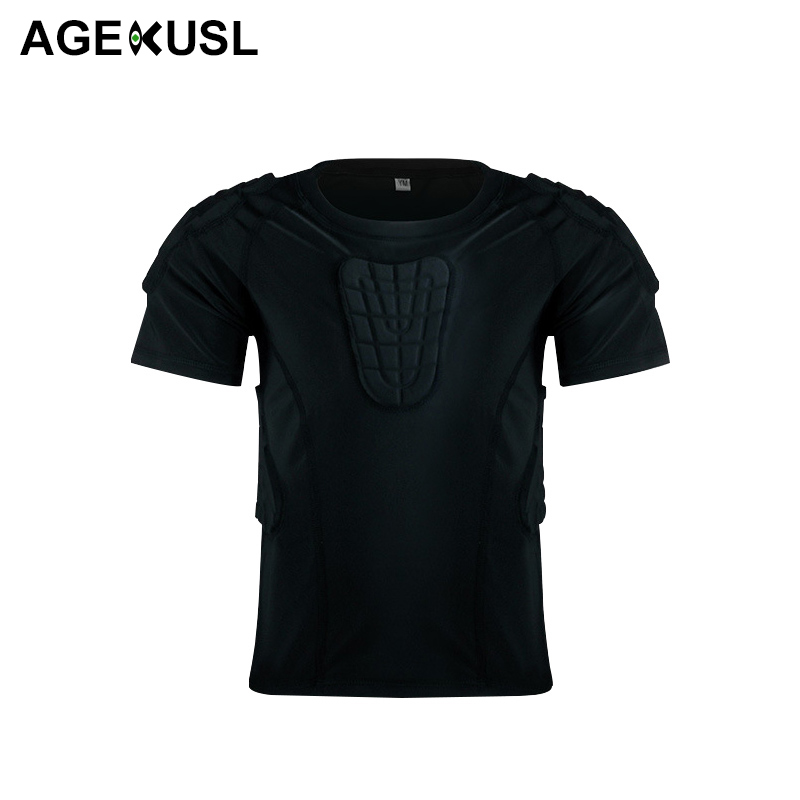AGEKUSL Boy Kids Padded Compression Shirt Chest Rib Protector For Football Basketball Paintball Cycling MTB Bike Bicycle Jerseys