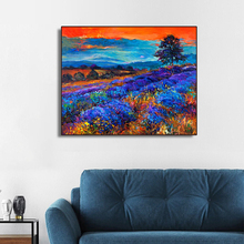 Blue Purple Flowers Field Decoration HD Canvas Painting Calligraphy Wall Pictures Modern Home Art Decor