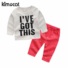 Kimocat 2018 Autumn New Clothing Sets Boy Cotton Casual Children's Wear Kids Clothes Baby Boys T-shirts+Pants 2PCS Tracksuit 1 2 3 4 year boys clothes 2018 new cotton casual kids outfits star shirts stripe pants 2pcs baby children clothing set
