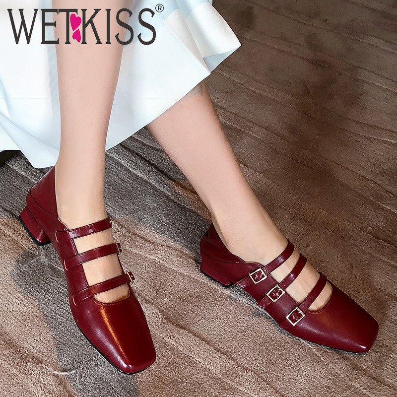WETKISS Shoes Female Mules Pumps Buckle Square Toe Mary Janes New Metal Autumn