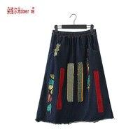 Dower Me Весна плюс Размеры S к 3XL карманов Джинсы плиссированные Юбки Для женщин Мода-Line Джинсовые юбки для дам