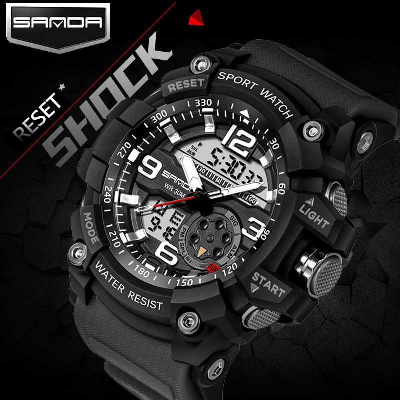 2017 SANDA Dual Display Watch Men G Style Waterproof LED Sports Military Watches Shock Men's Analog Quartz Digital Wristwatches sanda fashion watch men g style waterproof led digital sports military shock men s analog quartz wristwatch relojes hombre