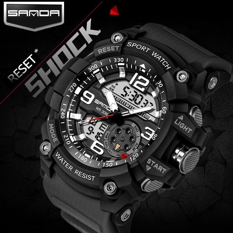 2017 SANDA doble pantalla reloj Hombres G estilo impermeable LED deportes militar relojes choque hombres analógico cuarzo Digital Relojes