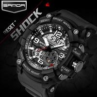 2017 SANDA Dual Display Watch Men G Style Waterproof LED Sports Military Watches Shock Men S