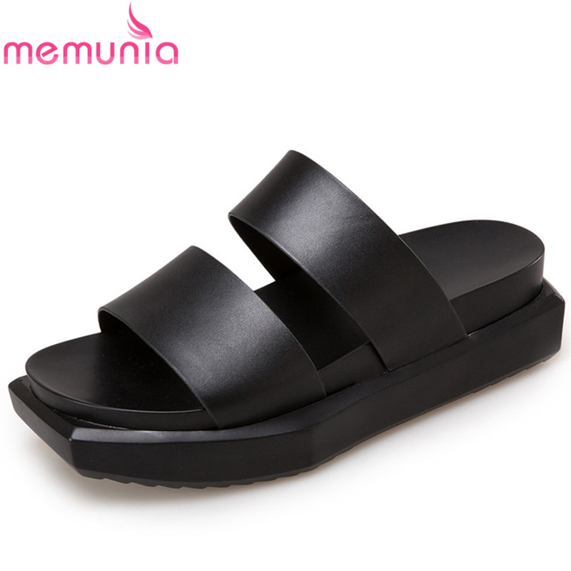 MEMUNIA black white fashion summer ladies shoes casual flat platform shoes woman solid colors women genuine leather sandals women creepers shoes 2015 summer breathable white gauze hollow platform shoes women fashion sandals x525 50